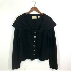 Guinevere Black Carved Cove Boiled Wool Sweater